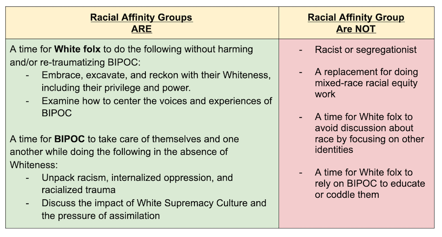 What racial affinity groups are and are not
